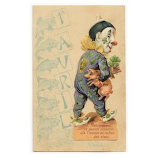 French April 1 FISH postcard with CLOWN and Pig Die-Cut
