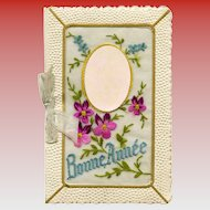 Embroidered Violets on Happy New Year French Greeting Card from 1943