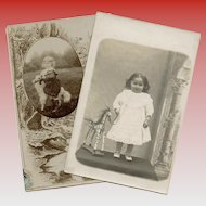 2 Antique Portrait Postcards  of Girls with Toys Wooden Horse and Llama
