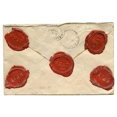 1889 Envelope with 5 Wax Seals from Lyon Silk Business to Paris Hotel