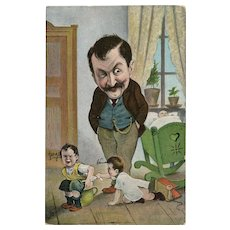 Father watching over his 3 Children Humorous Antique French postcard 1905