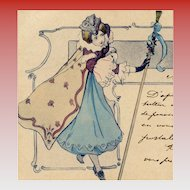 1901 Antique French Christmas Postcard Caped Woman with Staff