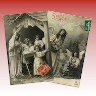 2 Joyeux Noel French Postcards Angels Nativity Real Photo