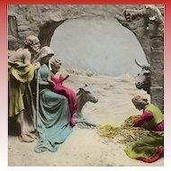 LAST CHANCE: Unused Colorized Mastroianni Noel Nativity Magi Scene Postcard
