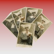 5 Antique French postcard series of Nun with Rosary, Missal, Prayer Beads