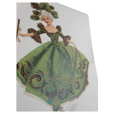 Pierrette in Green with Gold Hand Detailing French Coffee Advertising Postcard
