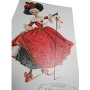 Courtesan in Red with Gold Hand Detailing French Coffee Advertising Postcard