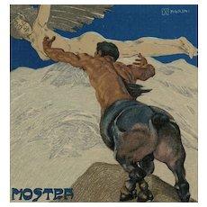 Mythological Centaur Reaches for Winged Woman 1906 Artist Signed Postcard