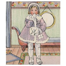 French Happy New Year Girl in Lavender Winter Coat Artist Signed Suzanne Cocq