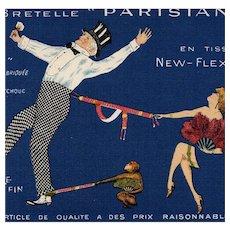 "Vintage French ""Parisiana"" Suspenders Advertisement Postcard Edwardian Couple with Monkey"