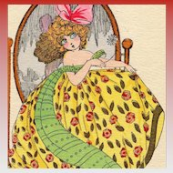 Art Deco Fashion by Douky Little Girl Playing Grown Up Unused French Postcard Gold Highlights