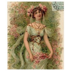 Art Nouveau French Postcard of Bejeweled Beauty Gathering Flowers Postmarked 1905 - Red Tag Sale Item