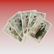 Hand Detailed French Edwardian Postcard Series (5) Love Blooming in the Greenhouse