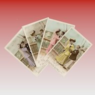 4 Antique French Postcards Romance at Sea Series Hand-Colored