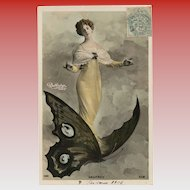 Belle Epoque Actress Riding Butterfly Reutlinger of Paris Fantasy Collage French Postcard
