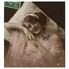 Butterfly Dreams Edwardian Lady in Pink Sepia Hand-Painted French Postcard - Red Tag Sale Item