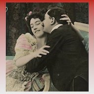 Kissing Edwardian Couple Antique French Postcard