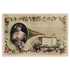 Edwardian Woman Sings from Faux Phonograph Gramophone Unused French Fantasy Postcard