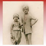 LAST CHANCE: Youngsters in Exotic Indian or Middle Eastern Costumes Rare Real Photo French Postcard
