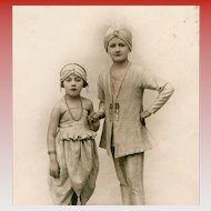 Youngsters in Exotic Indian or Middle Eastern Costumes Rare Real Photo French Postcard