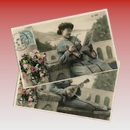 Edwardian Woman with Lorgnette and Mandolin 2 Antique French Hand-Painted Postcards