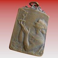 Vintage 1955 Belgian French Medal Art Nouveau Style Pendant Lady Holding Trophy