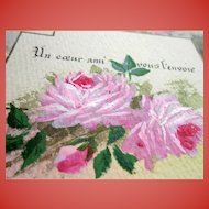 Hand-painted Roses French Postcard from 1907