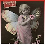 Butterfly Girl with Rose Antique French Fantasy Postcard