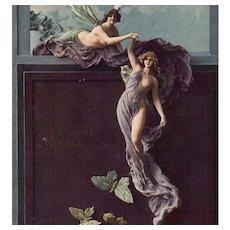 Rare Mastroianni Sculptochromie Butterflies and Fairy Art Nouveau Fantasy Postcard