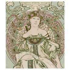 "Original Art Nouveau Alphonse Mucha ""Daydreaming"" Postcard by Champenois Franked 1902"