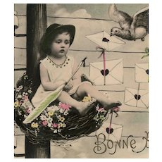 """""""Airmail Baby"""" Antique French New Year's Montage Postcard 1907"""