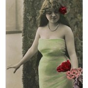 Long Haired Beauty in Green Dress Island Style 1906 Real Photo Postcard