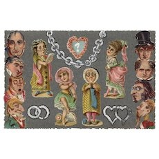 Humorous Handmade Antique French Postcard with Collage of Victorian Die-Cuts