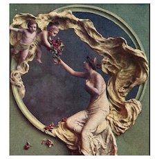 Art Nouveau Bas Relief Sculpto-Chrome by Italian Mastroianni Antique French Postcard