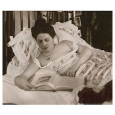 Edwardian Lady Lounging in Bed of Lace and Ruffles 1907 Real Photo French Postcard
