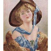 Glamour Lady Artist Signed Bottaro Unused Italian Postcard