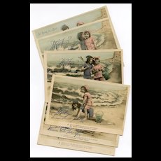 RESERVED for Peteybug Zezette and Toto at the Beach Handpainted Series 6 French Postcards