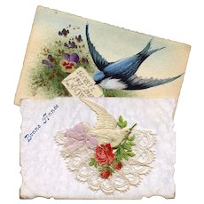 Two Antique French Bird Postcards: Lace, Ribbon, Die-Cut, Hand-Painted