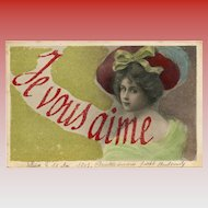 Handmade Antique Glass Bead French Postcard Je Vous Aime