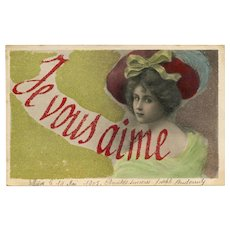 LAST CHANCE: Handmade Antique Glass Bead French Postcard Je Vous Aime