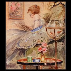 Artist Signed Snam Art Deco Postcard Pining Woman with Exotic Fishbowl - Red Tag Sale Item