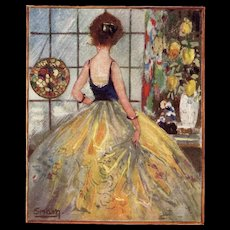 Artist Signed Snam Art Deco Postcard Rainy Day Broken Hearted Woman - Red Tag Sale Item