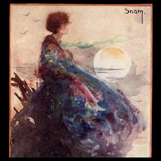 Artist Signed Snam Art Deco Postcard  Woman in Lavender Blue Staring at the Moon - Red Tag Sale Item