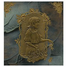 Art Nouveau European Postcard with Gold Embossed Design on Marbled Paper
