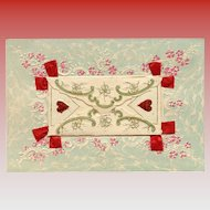Embossed Antique 3-D Postcard with Message Card inside Beribboned Mini Envelope