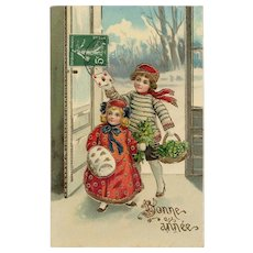 French Happy New Year Postcard Gold Embossed Edwardian Girl in Red Coat 1912