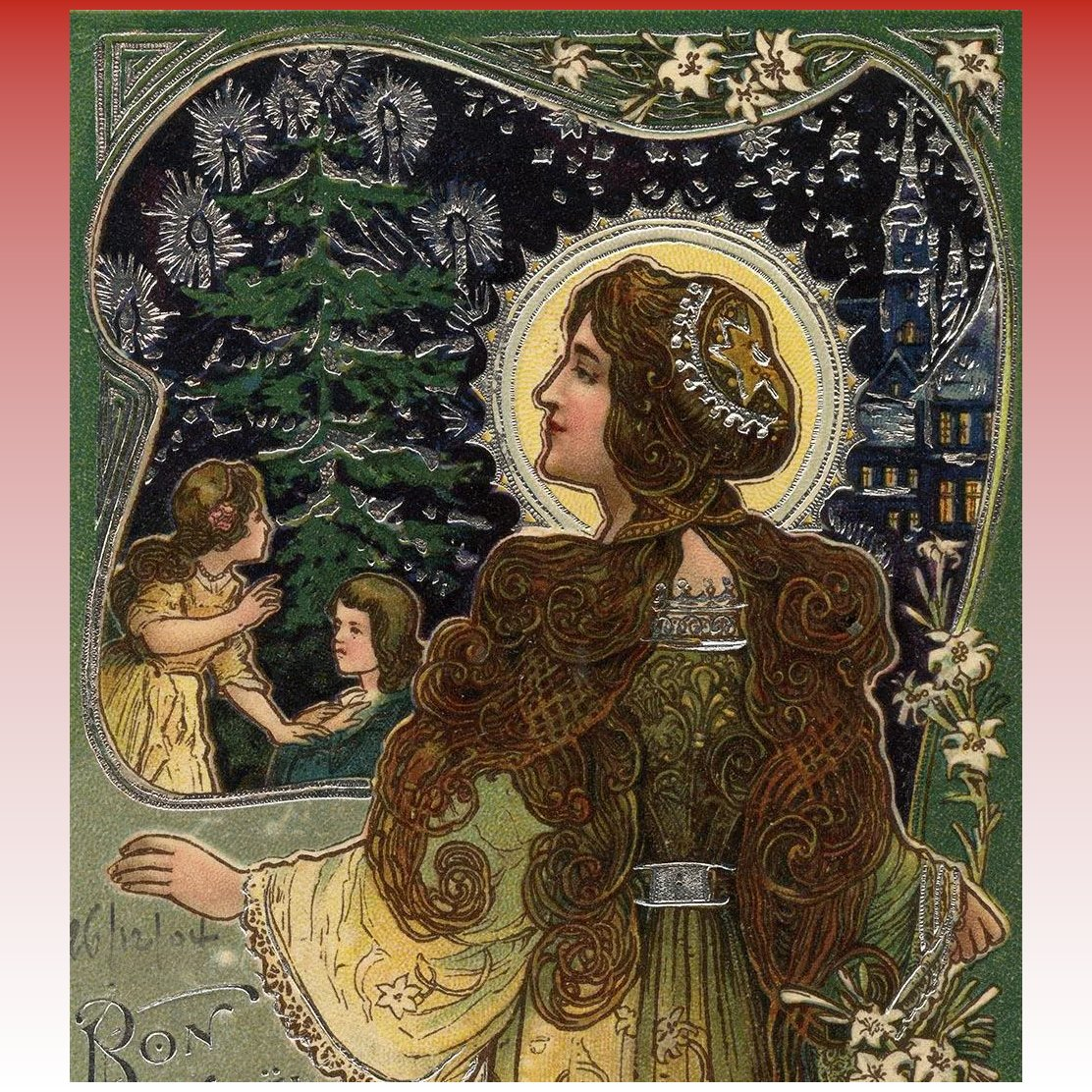 1904 French Art Nouveau Christmas Postcard Silver Embossed with Mary ...