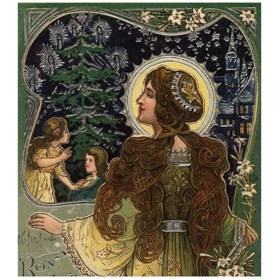 1904 French Art Nouveau Christmas Postcard Silver Embossed ...