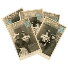 1905 French Series of 5 Postcards Edwardian Woman Getting Fashionable Look at Salon