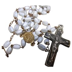 Vintage French Rosary 52 White Striped Glass Beads 4 Nail Wood Filled Cross